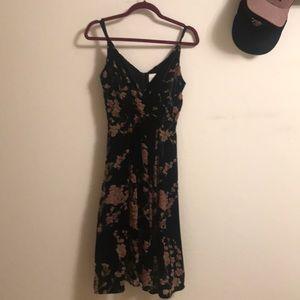 Midi black velvet dress from Anthropologie